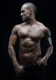 Tema do halterofilista e da tira: bonito com o homem despido bombeado dos músculos que levanta no estúdio em um fundo escuro Foto de Stock