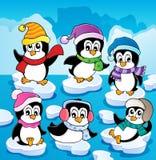 Tema do inverno com pinguins   Imagens de Stock Royalty Free