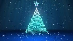 Tema do inverno para o fundo do Natal ou do ano novo com espaço da cópia Close-up da árvore do Xmas das partículas brilhantes do  ilustração stock