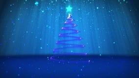 Tema do inverno para o fundo do Natal ou do ano novo com espaço da cópia Close-up da árvore do Xmas das partículas no meados de-q ilustração do vetor