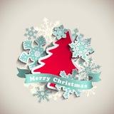 Tema do Natal, árvore abstrata e flocos de neve ilustração stock