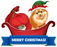 Tema do Natal com cães e presentes no pequeno trenó Fotografia de Stock Royalty Free