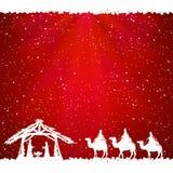 Tema do Natal no fundo vermelho Imagens de Stock Royalty Free