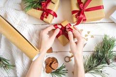 Tema do Natal processo do papel de embrulho Imagens de Stock Royalty Free