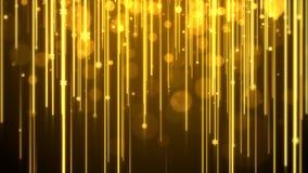 Tema do ouro do fundo do Natal, com raia de luzes, brilho do bokeh e floco de neve das partículas ilustração royalty free