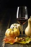 Abóboras, vinho e folhas de outono imagem de stock