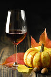 Abóboras, vinho tinto e folhas de outono Fotos de Stock Royalty Free