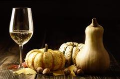 Abóboras e folhas de outono com vinho branco foto de stock