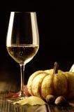 Abóboras e folhas de outono com vinho branco Fotografia de Stock Royalty Free