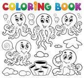 Tema 1 do polvo do livro para colorir ilustração royalty free