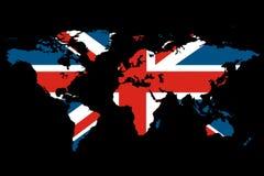 Tema do Reino Unido do mapa de mundo Imagens de Stock Royalty Free