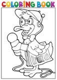 Tema 1 do repórter do pato do livro para colorir Fotografia de Stock Royalty Free