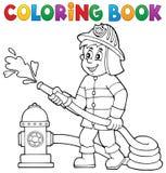 Tema 1 do sapador-bombeiro do livro para colorir Foto de Stock