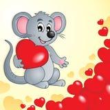 Tema do Valentim com rato e corações Fotografia de Stock Royalty Free