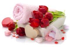 Tema do Valentim do banho e dos termas Fotografia de Stock Royalty Free
