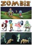 Tema do zombi com os zombis que andam no parque na noite Imagem de Stock