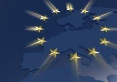 Tema dorato delle stelle del sindacato europeo Fotografia Stock Libera da Diritti