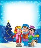 Tema 4 dos cantores da música de natal do Natal ilustração stock