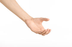 Tema dos gestos de mão: a mão humana mostra gestos isolada no fundo branco no estúdio Fotos de Stock