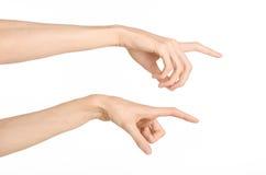 Tema dos gestos de mão: a mão humana mostra gestos isolada no fundo branco no estúdio Fotos de Stock Royalty Free