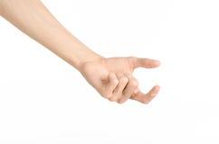 Tema dos gestos de mão: a mão humana mostra gestos isolada no fundo branco no estúdio Imagens de Stock Royalty Free