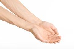 Tema dos gestos de mão: a mão humana mostra gestos isolada no fundo branco no estúdio Imagem de Stock