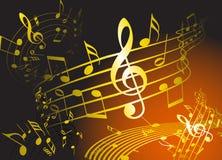Tema dourado da música Imagens de Stock Royalty Free