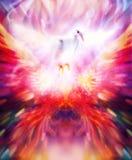 Tema extatic de la visión de Shamanic con las alas y la paloma phoenic ilustración del vector