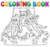 Tema 1 för aquapark för färgläggningbok Arkivfoto
