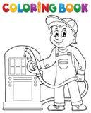 Tema 1 för arbetare för bensinstation för färgläggningbok vektor illustrationer