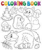 Tema 1 för djurliv för skog för färgläggningbok stock illustrationer