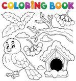 Tema 1 för fågel för vinter för färgläggningbok Fotografering för Bildbyråer