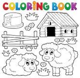 Tema 1 för får för färgläggningbok Arkivfoton