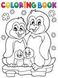 Tema 1 för familj för pingvin för färgläggningbok Royaltyfri Fotografi