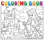Tema 2 för fotvandrare för kvinna för färgläggningbok royaltyfri illustrationer