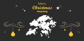 Tema för glad jul med översikten av Hong Kong royaltyfri illustrationer