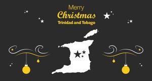 Tema för glad jul med översikten av Trinidad och Toba vektor illustrationer