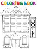 Tema 1 för hotell för färgläggningbok royaltyfri illustrationer