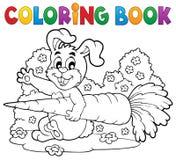 Tema 4 för kanin för färgläggningbok Royaltyfri Bild