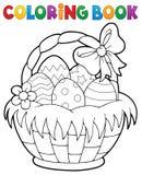 Tema 1 för korg för påsk för färgläggningbok stock illustrationer