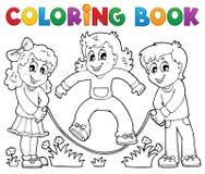 Tema 1 för lek för ungar för färgläggningbok stock illustrationer