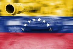 Tema för militär styrka, behållare för rörelsesuddighet med den Venezuela flaggan Arkivfoto