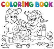 Tema 1 för picknick för färgläggningbok royaltyfri illustrationer
