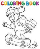 Tema 1 för pojke för skola för färgläggningbok royaltyfri illustrationer