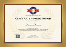 Tema för sport för certifikatmallinl med den guld- gränsramen, dopp royaltyfri illustrationer