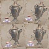 Tema för te för modell för vattenfärgbakgrund sömlöst med ryss sa Arkivfoto