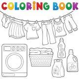 Tema 2 för tvätteri för färgläggningbok royaltyfri illustrationer