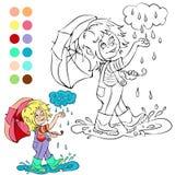 Tema för väder för färgläggningbok regnigt Arkivfoton