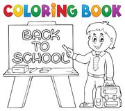 Tema felice 5 del ragazzo dell'allievo del libro da colorare Immagini Stock