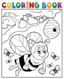 Tema felice 2 dell'ape del libro da colorare Fotografia Stock